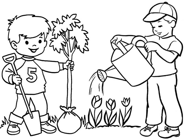 boys planting and watering for arbor day coloring page