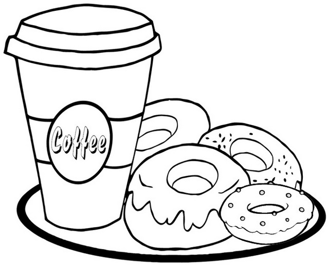 donut cream and coffee coloring page