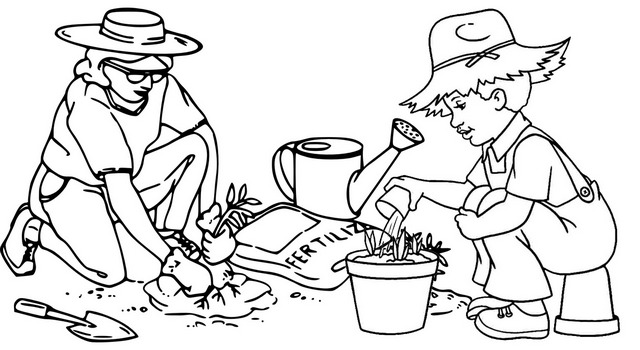 farmers fertilizing coloring page of arbor day