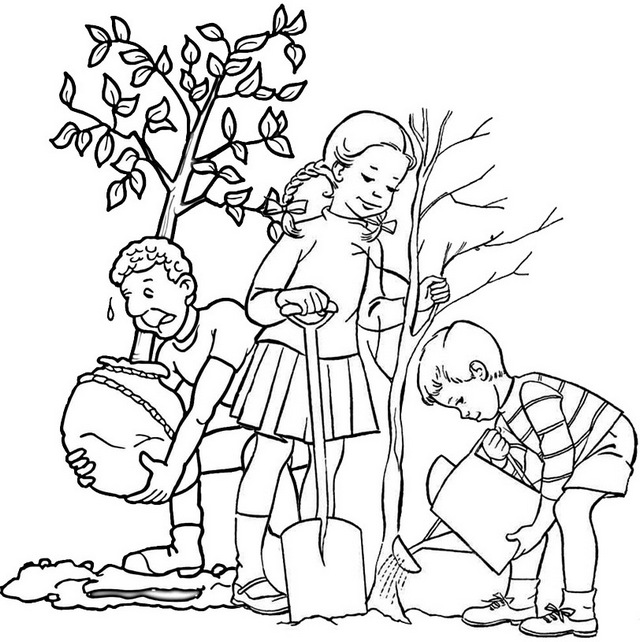 father and children planting a tree coloring page of arbor day