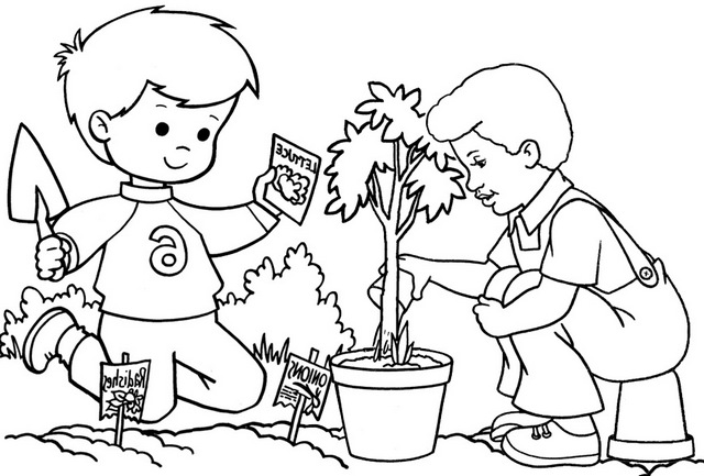 happy planting coloring page of arbor day