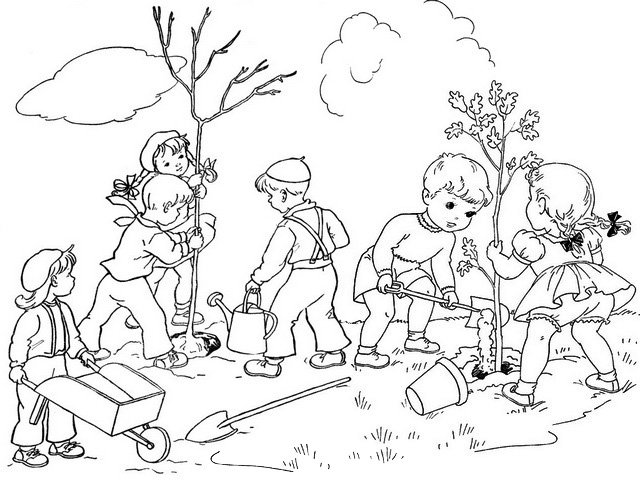 students planting activities coloring page of arbor day