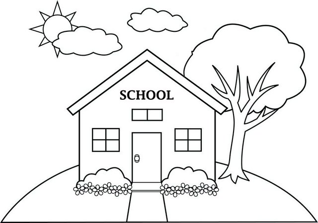 Cartoon school building coloring page