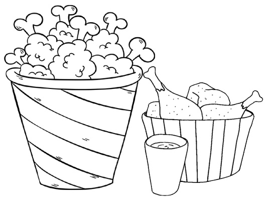 Crispy Fried Chicken Coloring Page