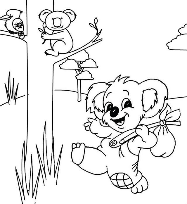 Cute Koala Cartoon Coloring Page