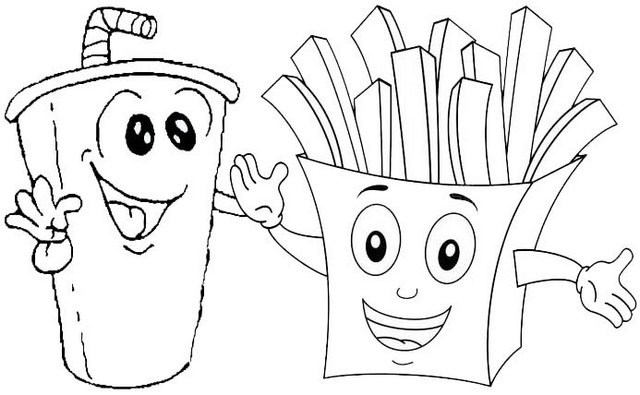 Cute Smile Juice and Fried Potato Coloring Page of french fries