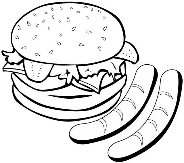 Delicious hamburger and sausage coloring page