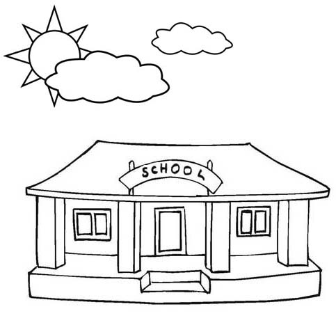 Elementary School Building Coloring Page