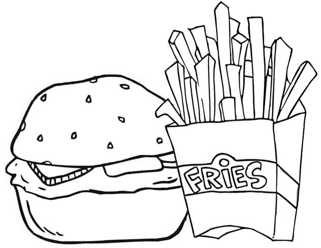 Hamburger and Fries Coloring Page of Potatoes