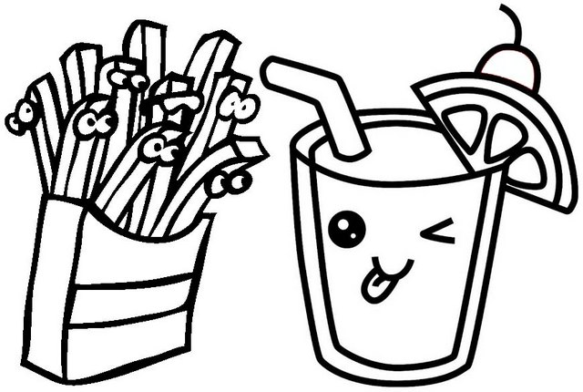 Juice and French fries Cartoon Coloring Page
