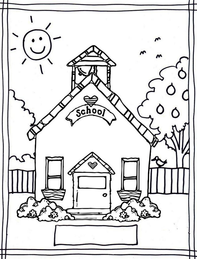 School House with Beautiful Garden Coloring Page