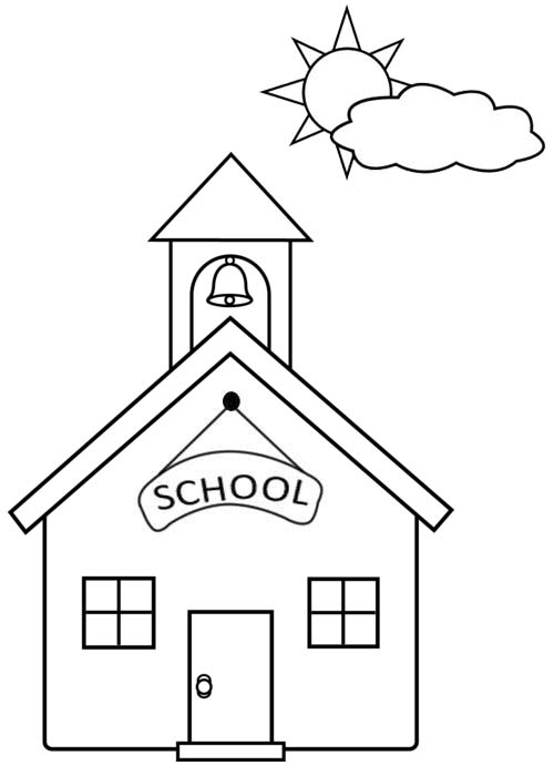 Simple School Building Coloring Page for Toddlers