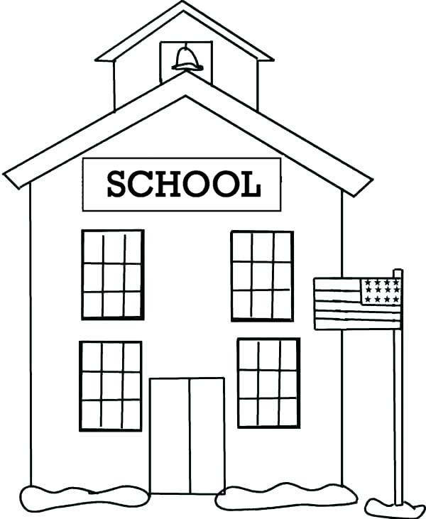 US School House Coloring Page