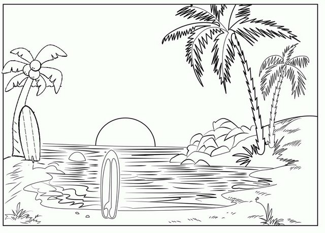 beautiful sunset beach coloring page