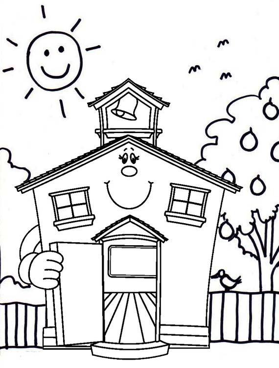 cute cartoon school house coloring page