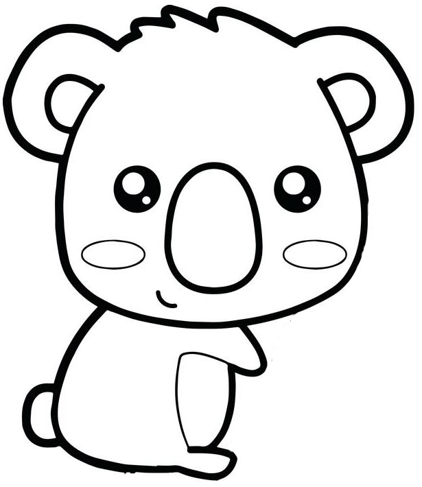 cute chibi koala coloring page for girls and boys