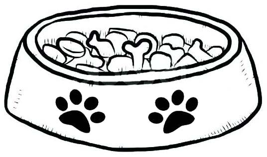 cute dog bowl coloring page
