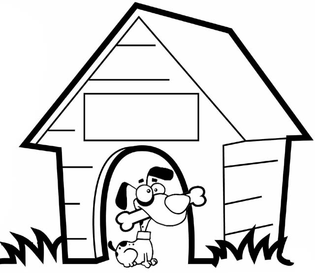 cute dog eating a bone coloring page of dog house