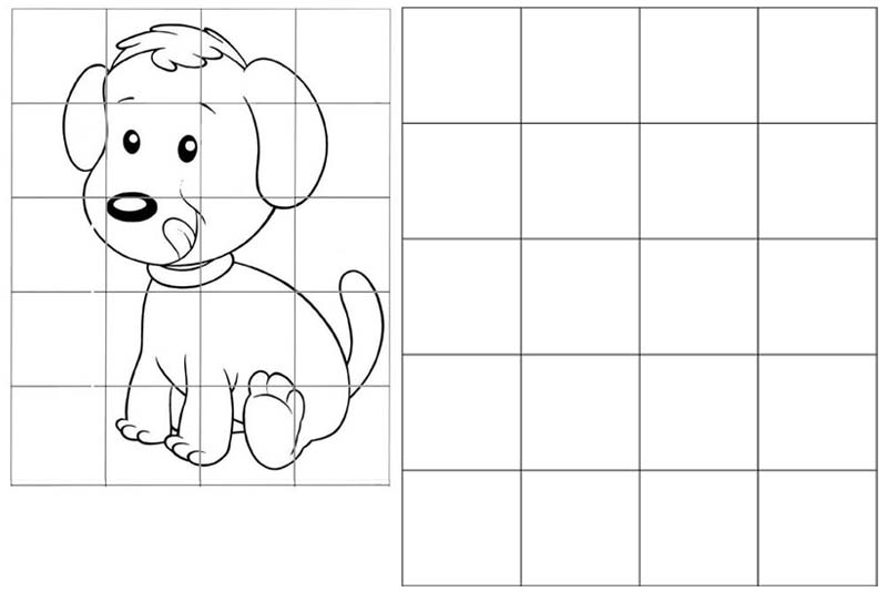 cute puppy dog grid drawing of animal