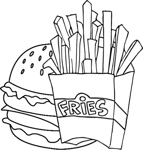 delicious hamburge and fried potatoes coloring page