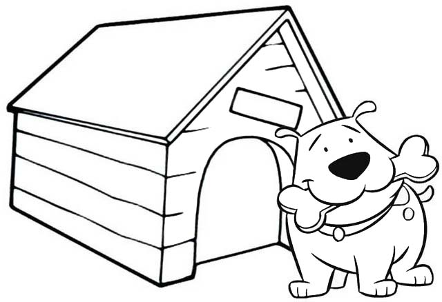 dog biting a bone coloring page of dog house