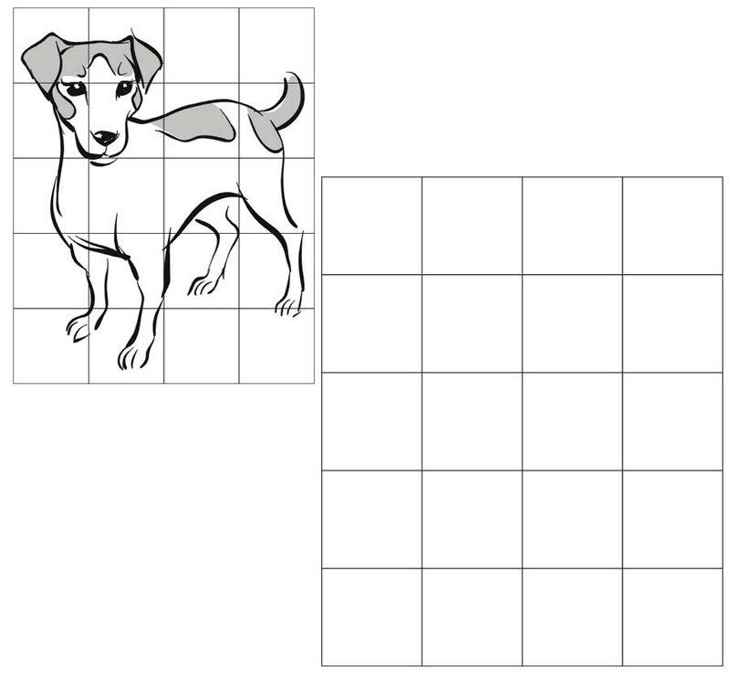 dog grid drawing of animal