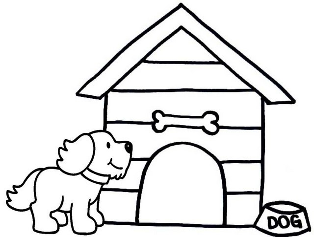 easy dog house coloring page