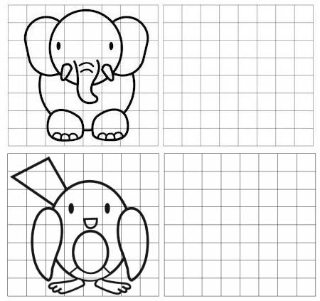 elephant and bird grid drawing of animal