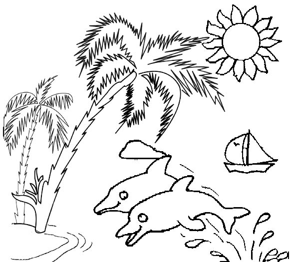 fun dolphins and palm tree coloring page of sunset