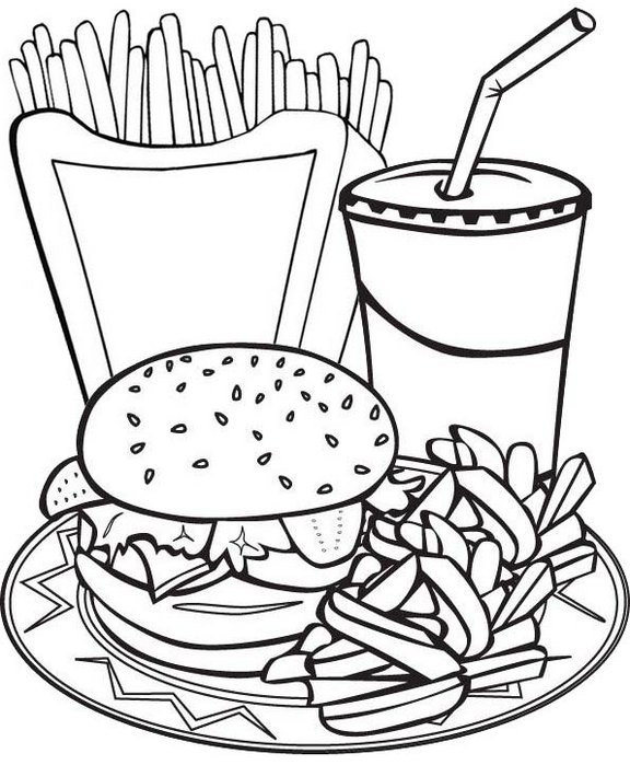 fun juice hamburger and french fries coloring page