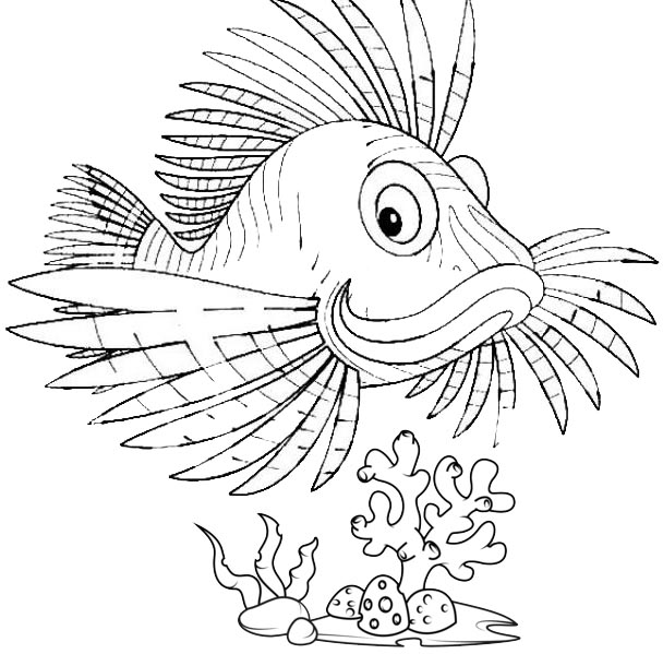 fun lionfish cartoon coloring page for boys and girls