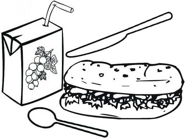 grape juice box and hotdog coloring page