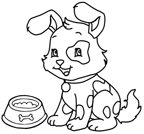 happy puppy dogs ready to eat coloring page