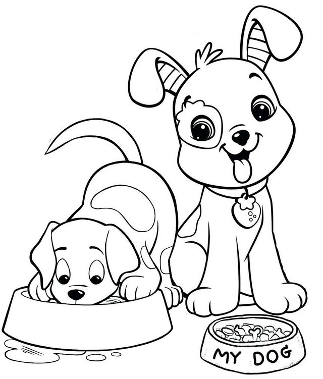 happy two dogs coloring page