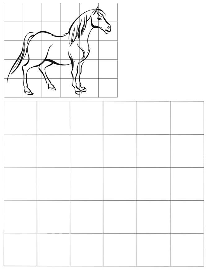 horse grid drawing of animal