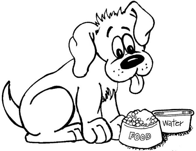 hungry and thirsty dog coloring page