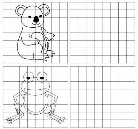 koala and frog grid drawing of animal
