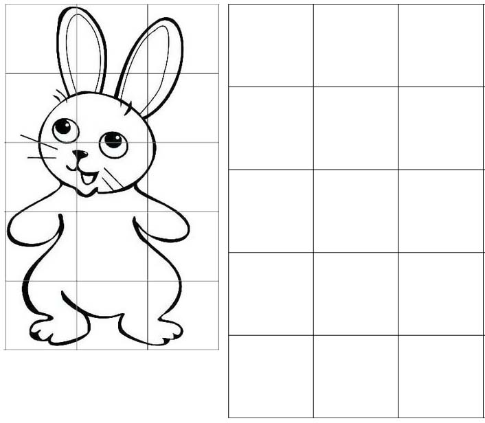rabbit grid drawing of animal