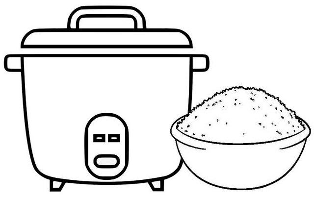 rice cooker and a bowl of rice coloring page