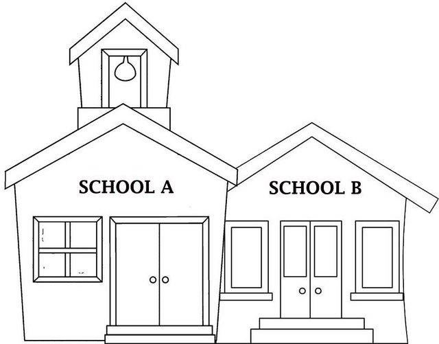 school house classroom A and B coloring page for primary students