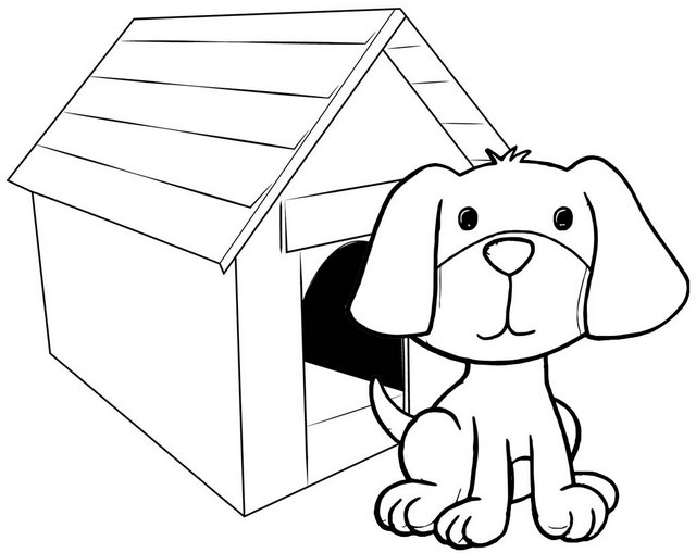 simple dog house coloring page