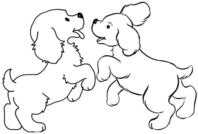two dogs playing together coloring page