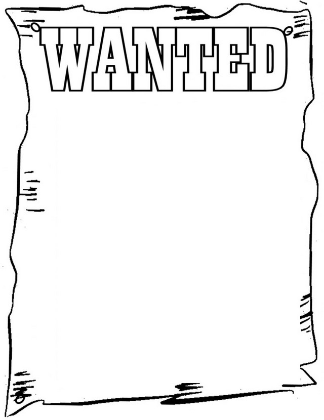 western wanted poster coloring page