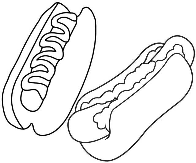 yummy hotdog coloring page