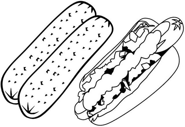 yummy sausage and hot dog coloring page