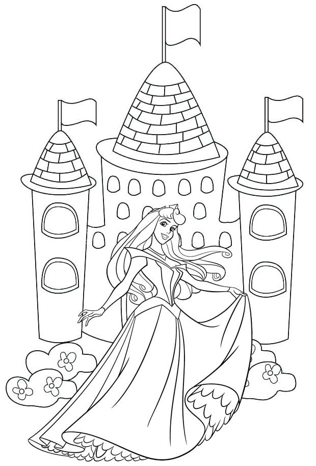 Aurora Dancing Coloring Page Disney