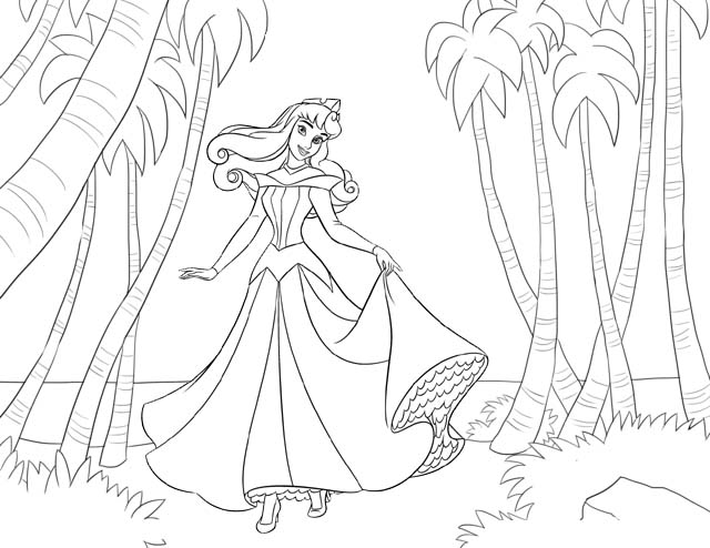 Aurora on the Beach Coloring Page