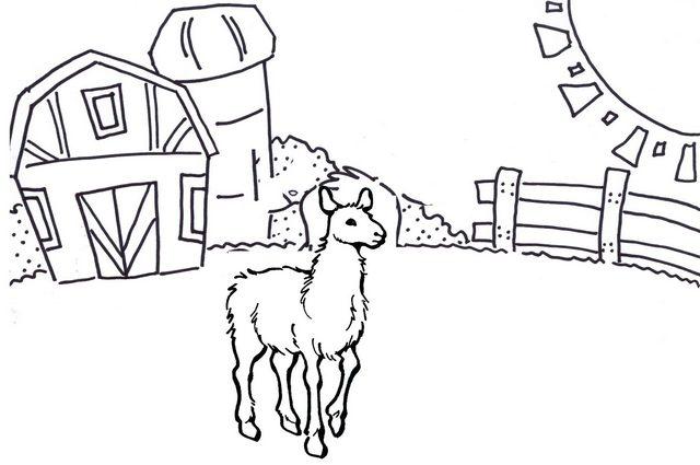 Australian Alpaca Barn Coloring Page
