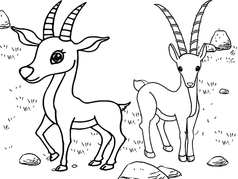 Babies Antelope Playing Together Coloring Page