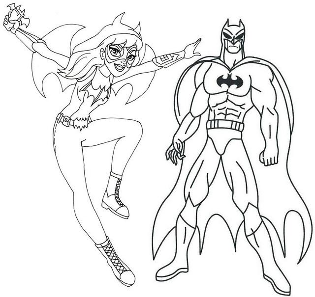 Batgirl and Batman Coloring Page of Superhero